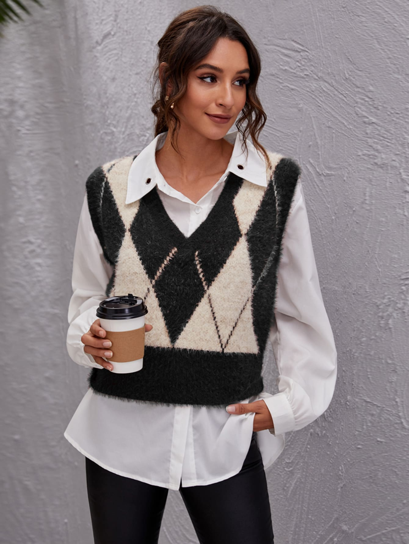 Argyle Pattern Fluffy Knit Sweater Vest thumbnail