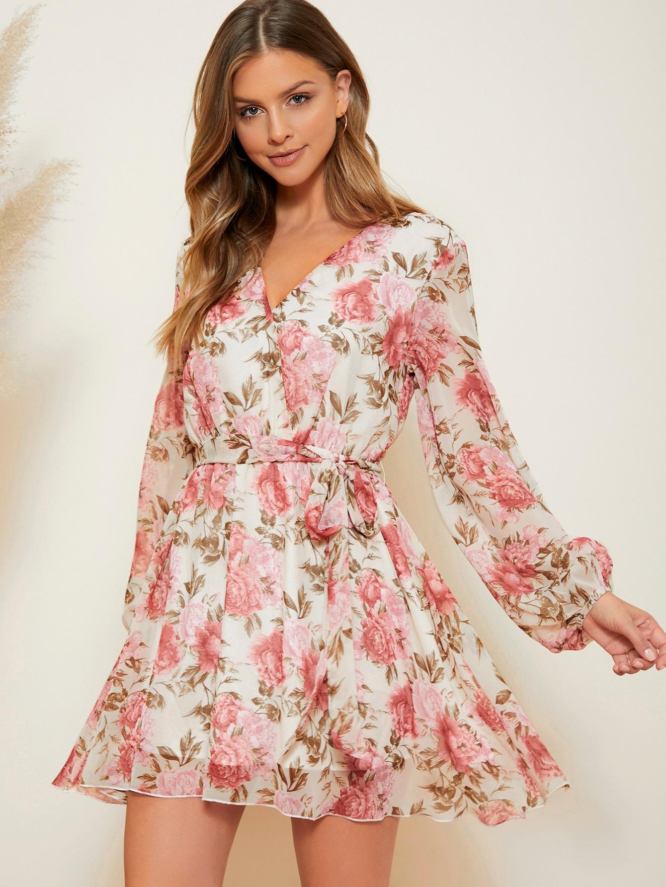 Allover Floral Print Lantern Sleeve Belted Chiffon Dress thumbnail