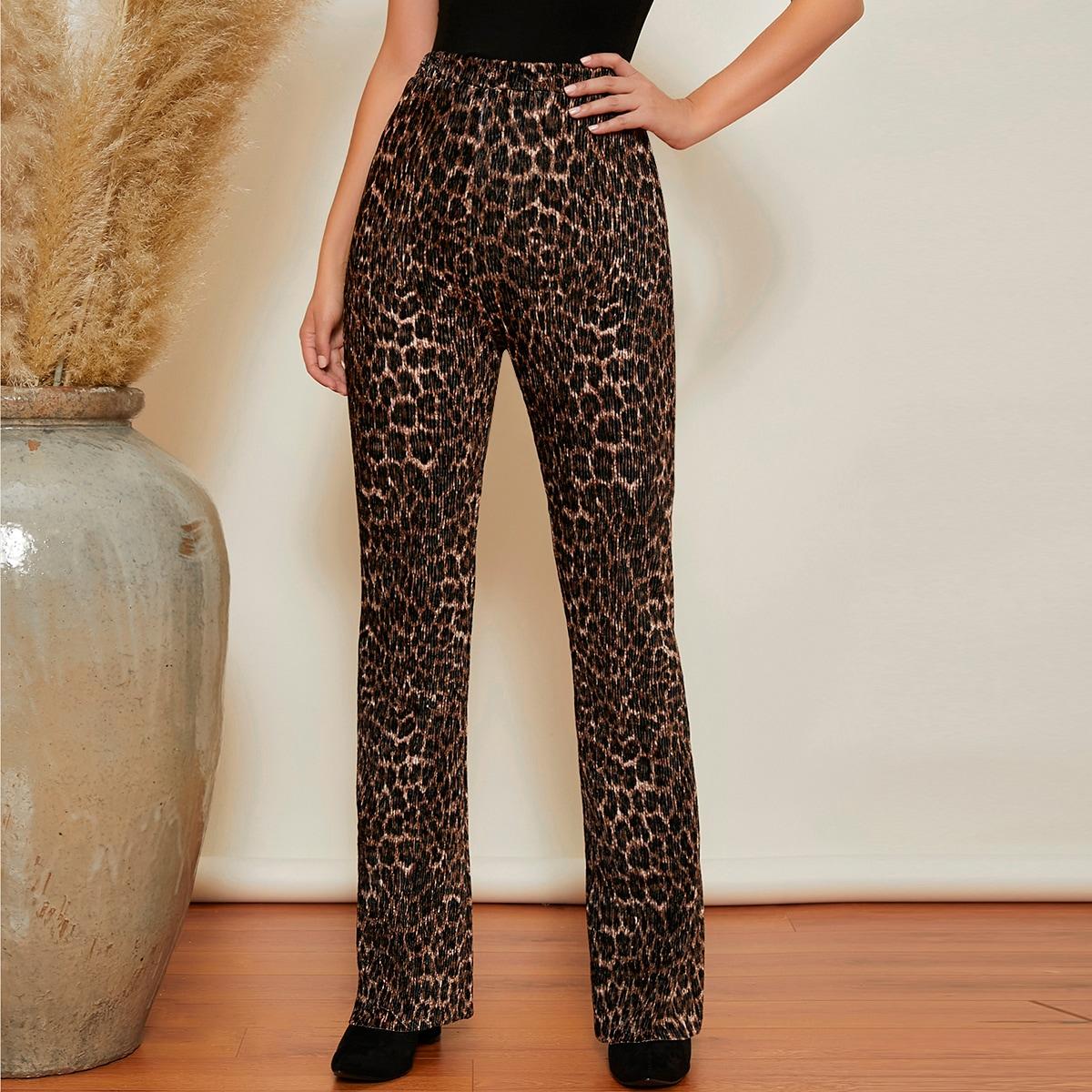 Бархатные плиссированные расклешенные брюки с леопардовым принтом