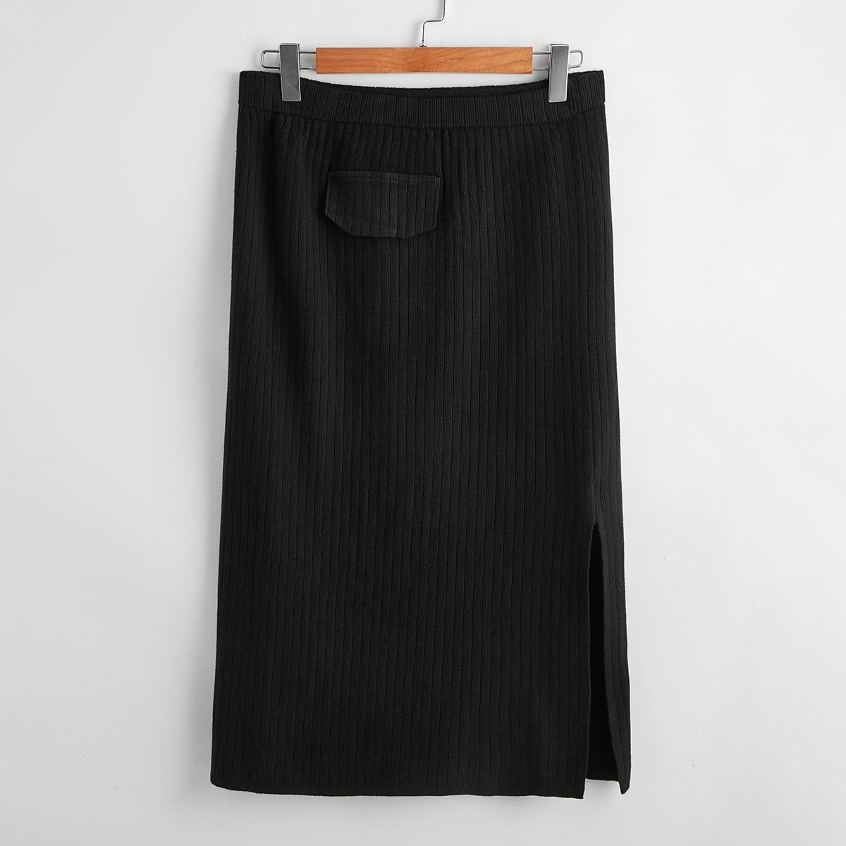 Шнуровка одноцветный повседневный трикотажные юбки размер плюс