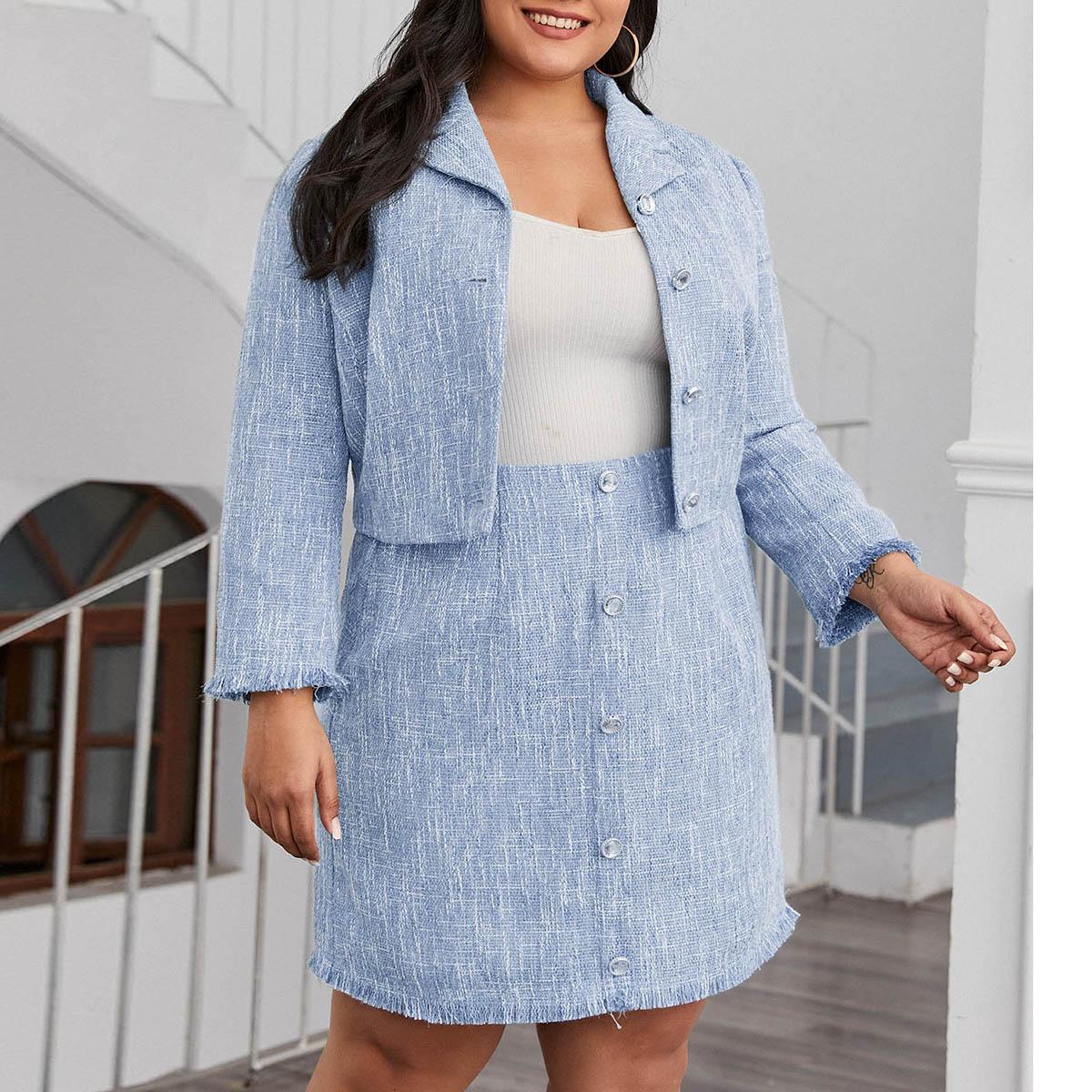 Твидовая куртка и юбка размера плюс