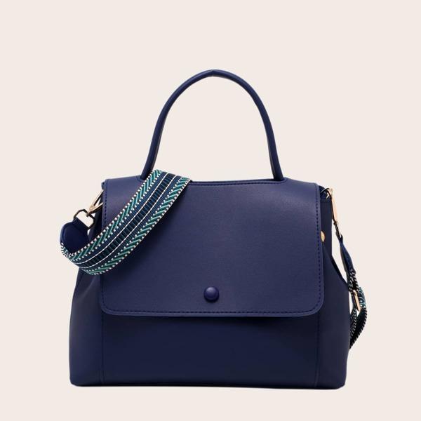 Minimalist Flap Satchel Bag, Royal blue