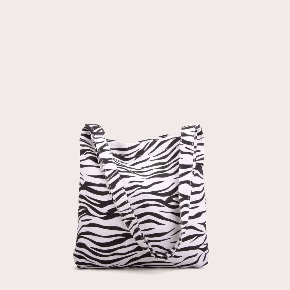 Холщовая сумка на руку с принтом зебры