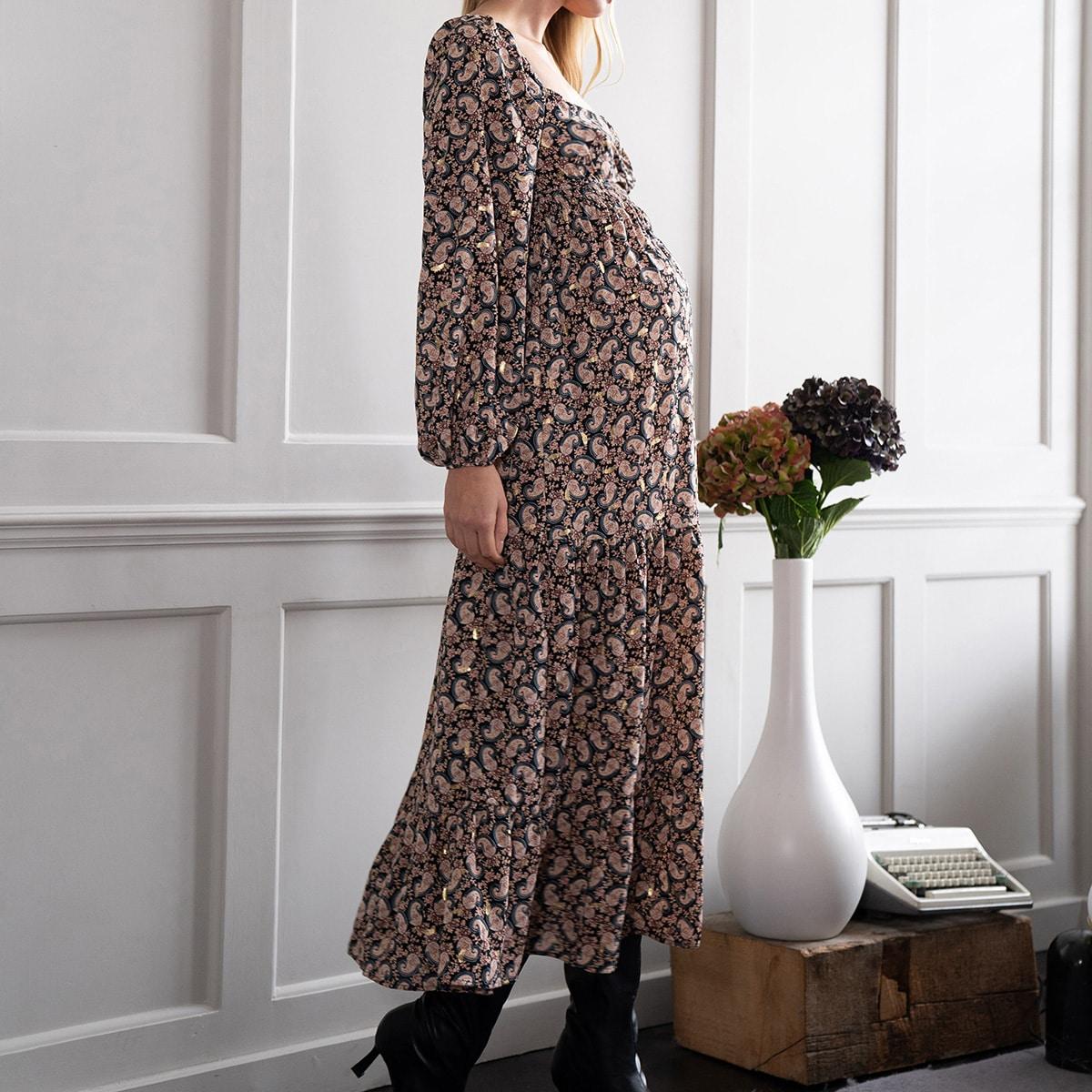 Платье с драпировкой и принтом пейсли для беременных