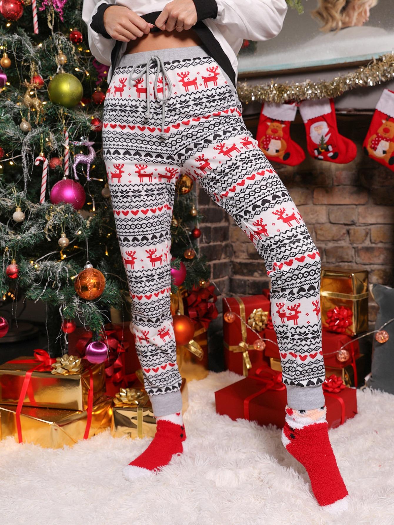 Christmas Elk and Geo Print Pants thumbnail