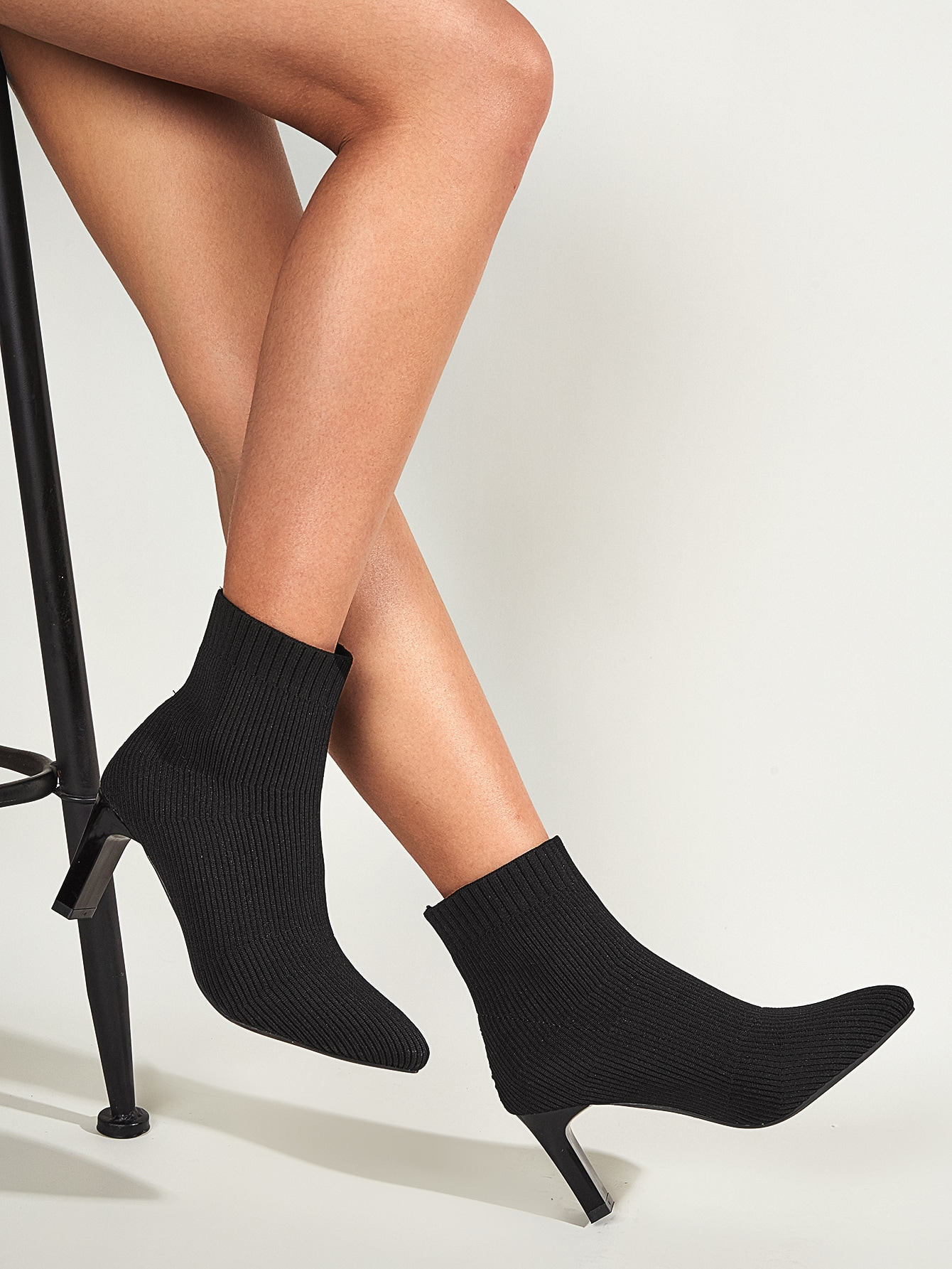 Point Toe Knit Sock Boots