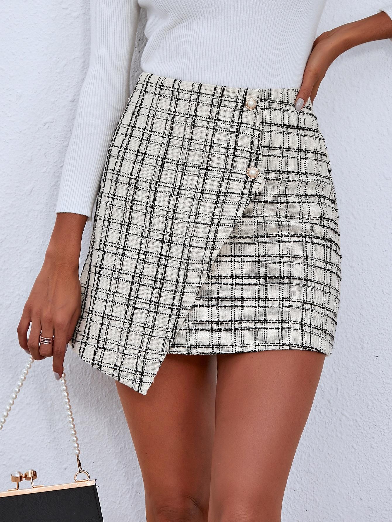 Buttoned Front Asymmetrical Hem Skirt thumbnail