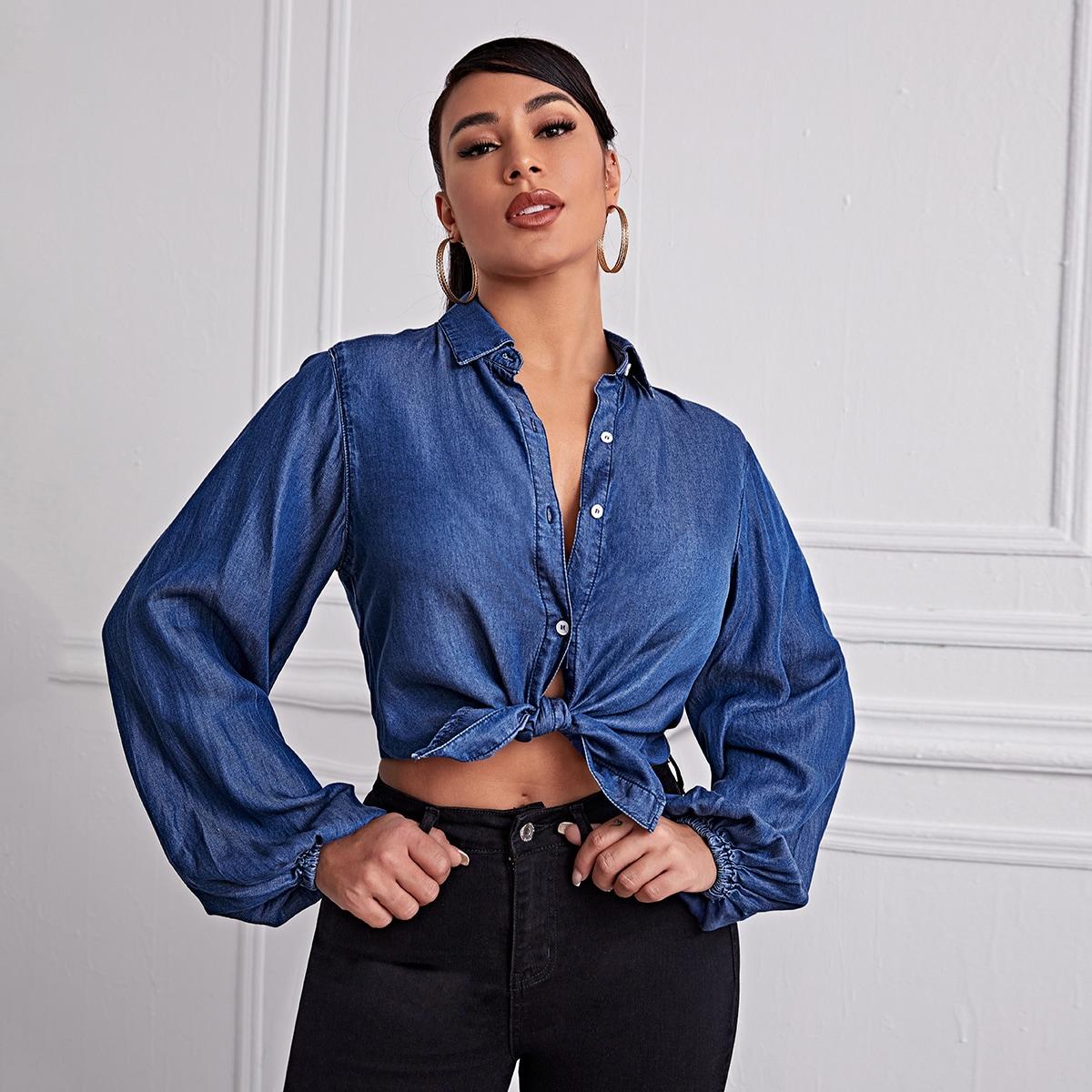 Джинсовая блуза с оригинальным рукавом