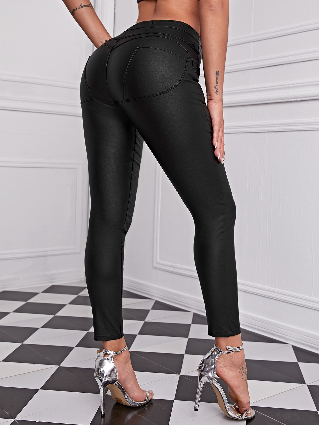 High Waist High Stretch Leather Look Jegging thumbnail