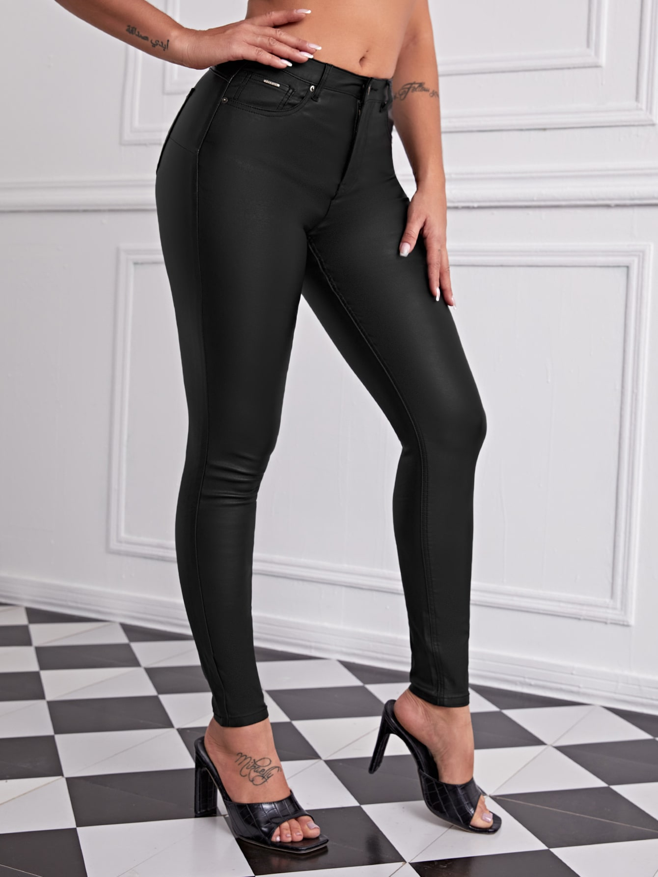 High Stretch Leather Look Skinny Jeans thumbnail