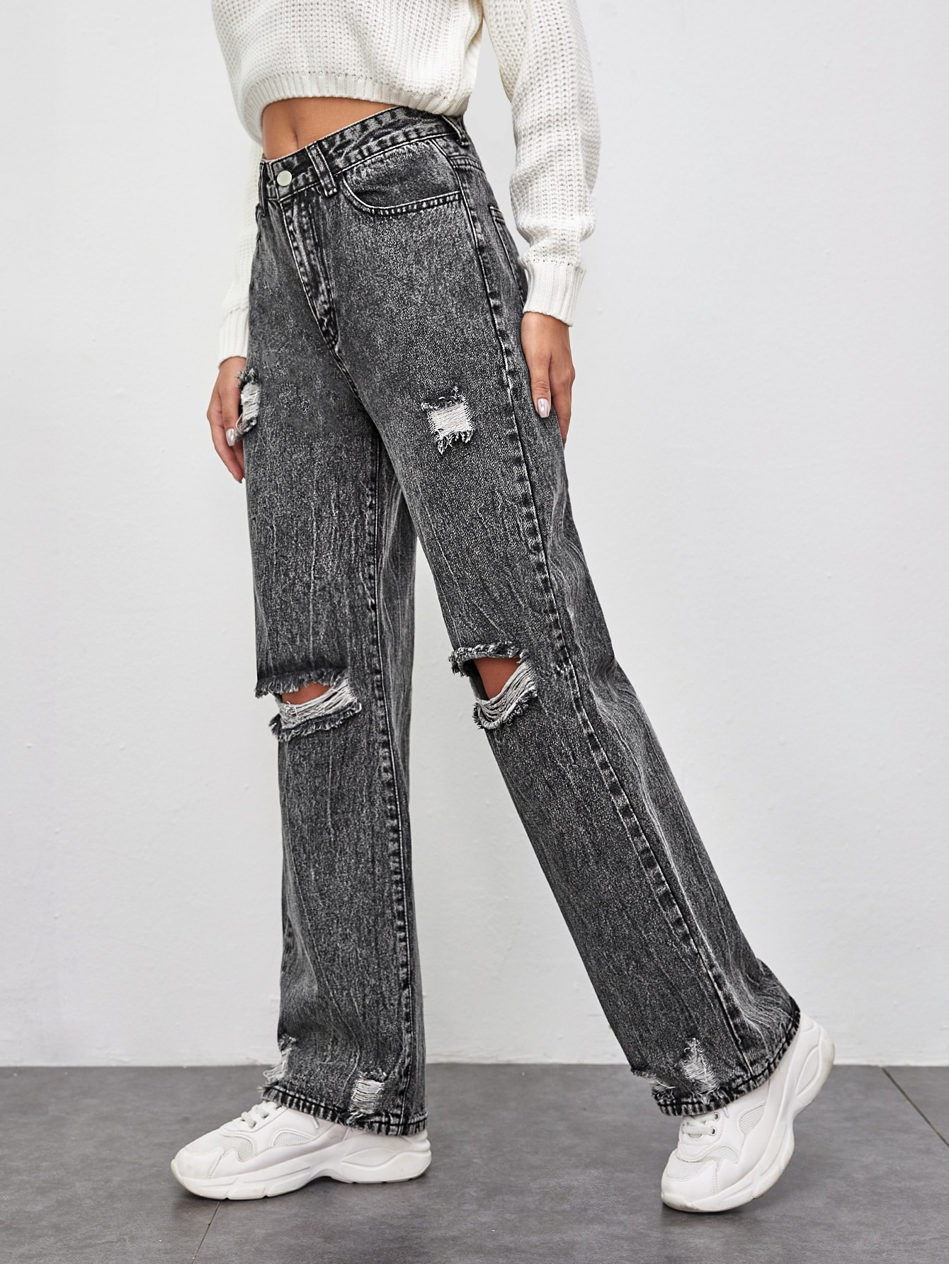 Gray Wash Ripped Straight Leg Jeans Without Belt thumbnail