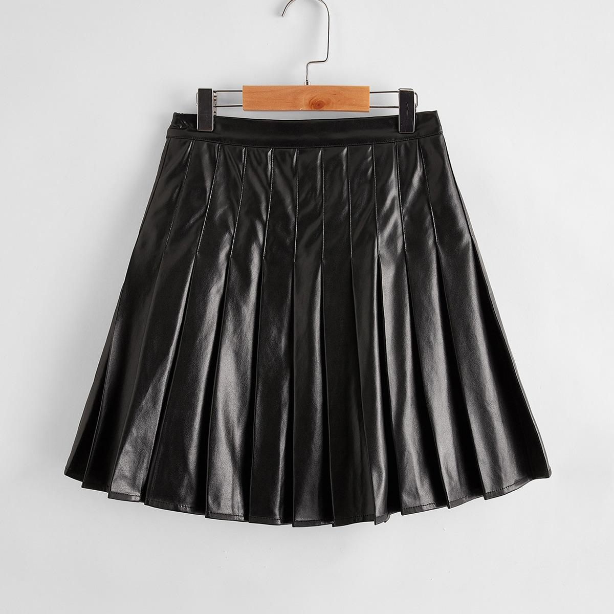 Плиссированная юбка из искусственной кожи для девочек