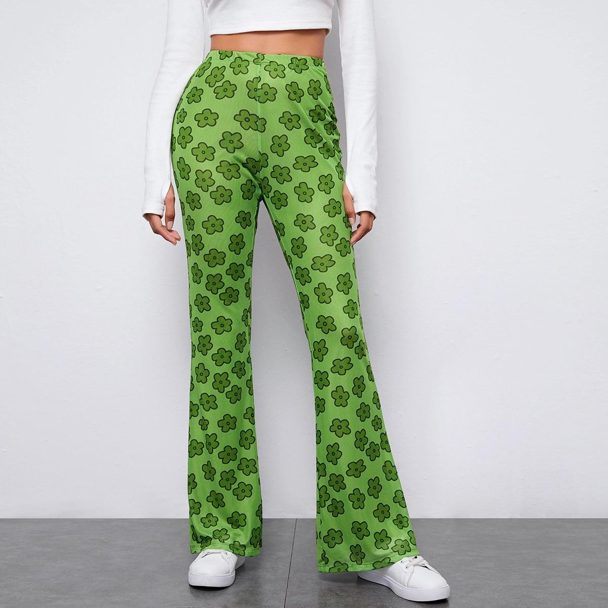 Расклешенные брюки с цветочным принтом