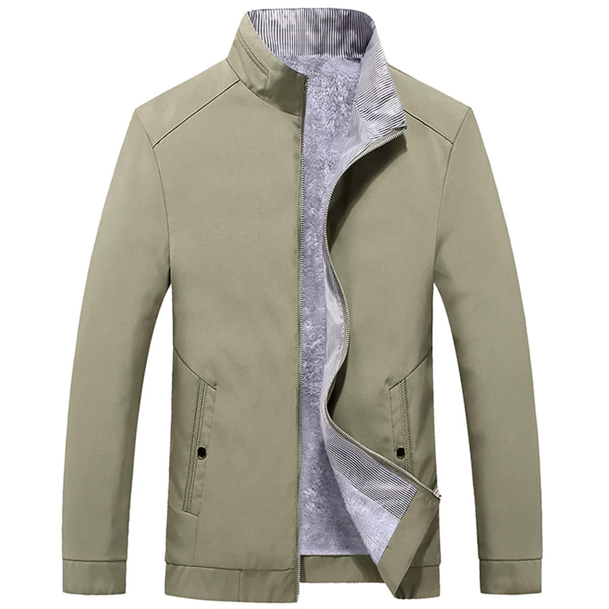 Мужская куртка на молнии с плюшевой подкладкой