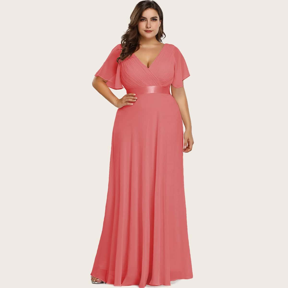 Шифоновое плиссированное платье размера плюс с оригинальным рукавом