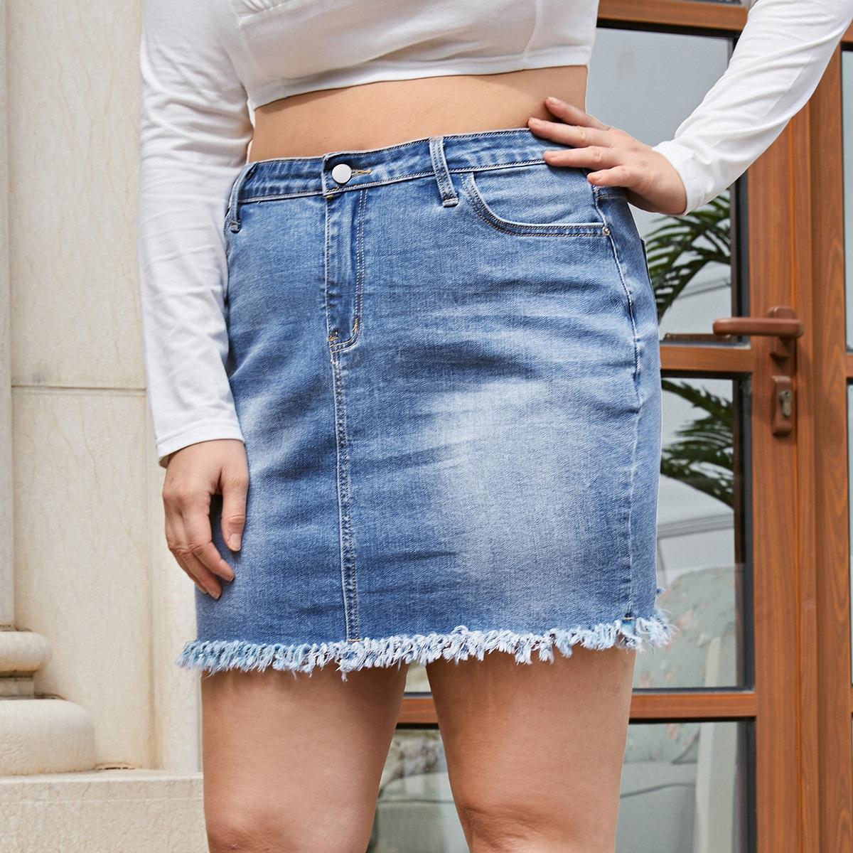 Джинсовая юбка размера плюс
