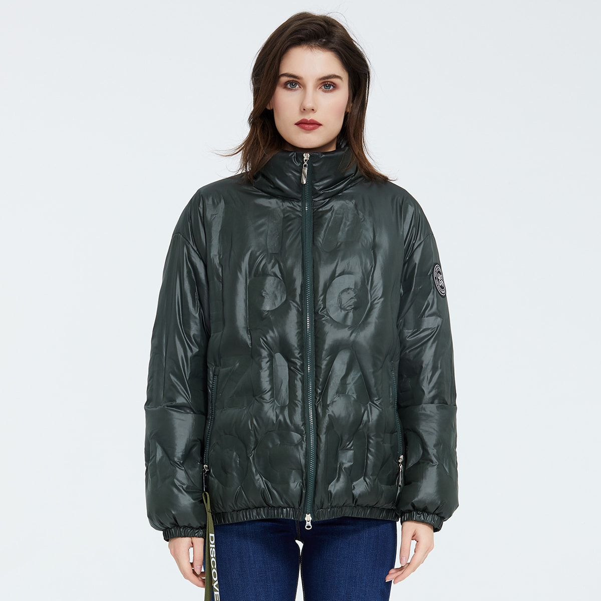 Zip Up Patch Detail Puffer Jacket