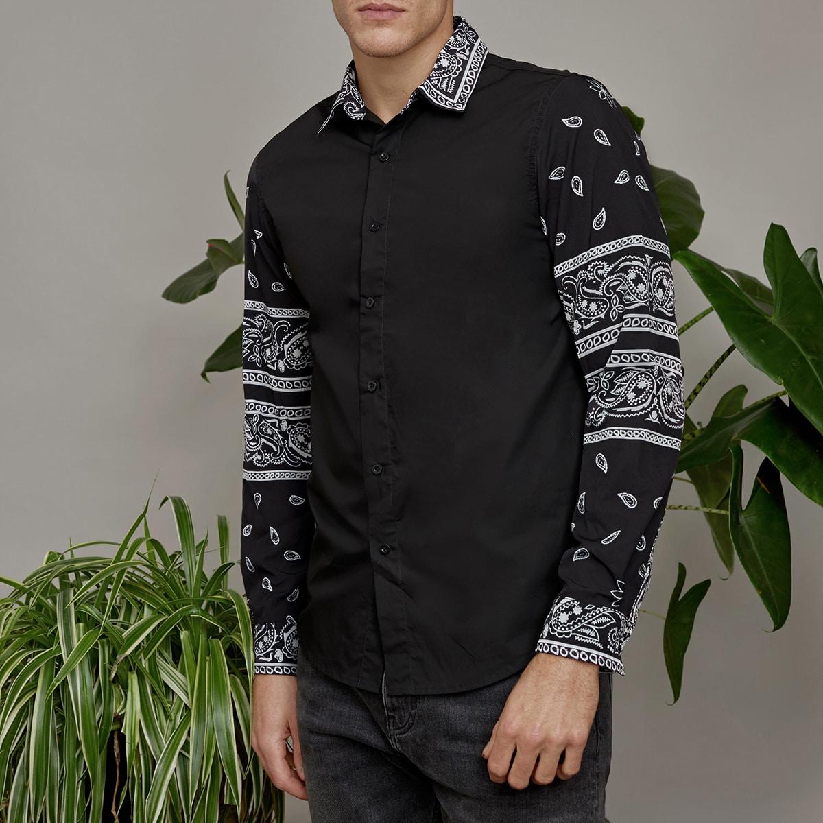Мужская рубашка на пуговицах с принтом