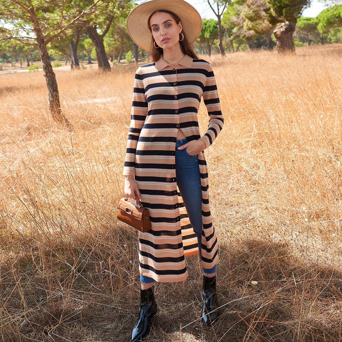 Однобортное платье-свитер в полоску