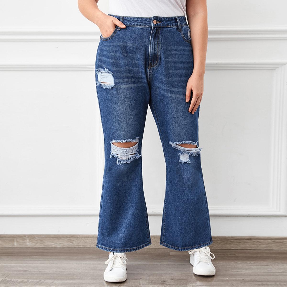 Рваные расклешенные джинсы размера плюс с высокой талией