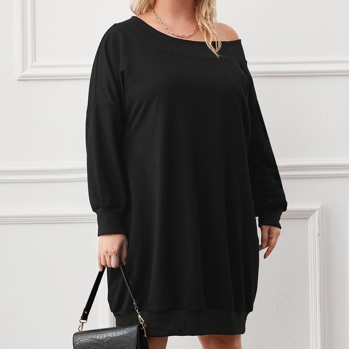 Plus Oversized Drop Shoulder Sweatshirt Dress