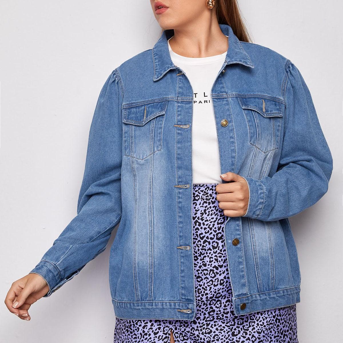 На пуговицах одноцветный повседневный джинсовая куртка размера плюс