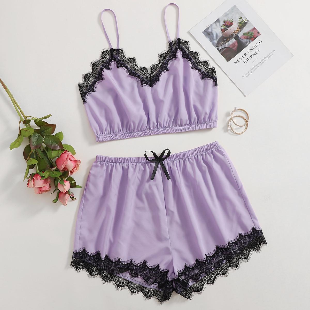 Контрастные кружева Контрастный цвет Сексуальный Пижама размер плюс