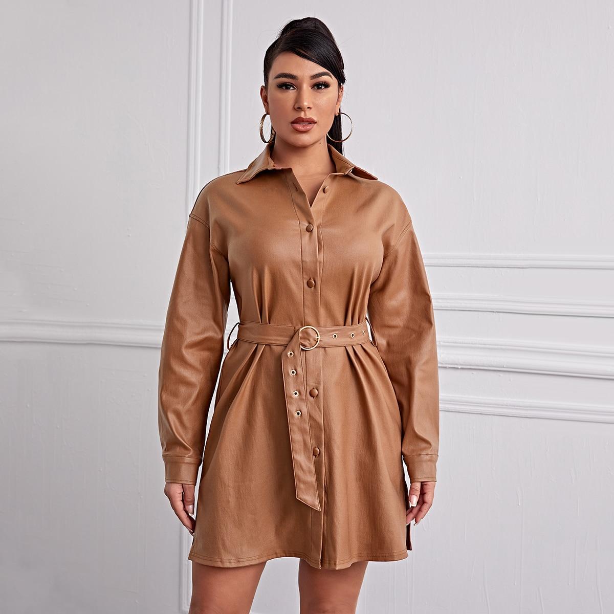 Джинсовое платье-рубагка на пуговицах с поясом