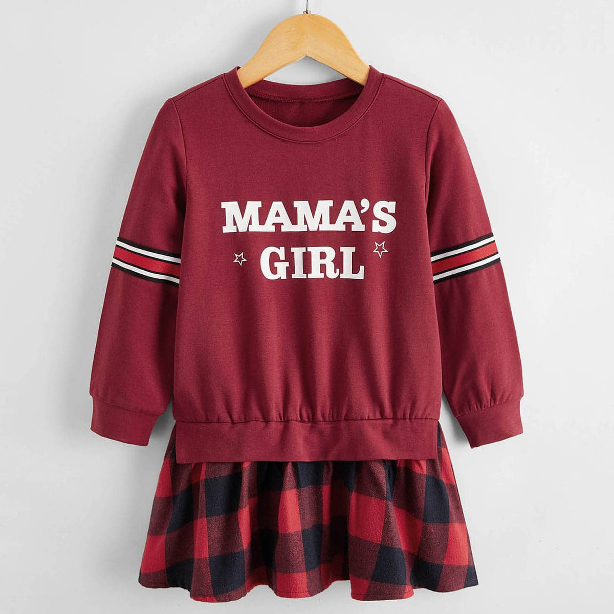Toddler Girls Letter Graphic Gingham Panel Sweatshirt Dress