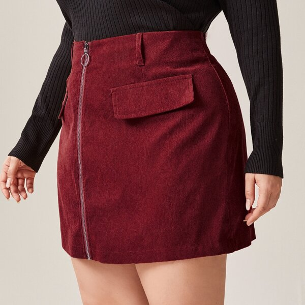 Plus O-ring Zip Corduroy Straight Skirt, Burgundy