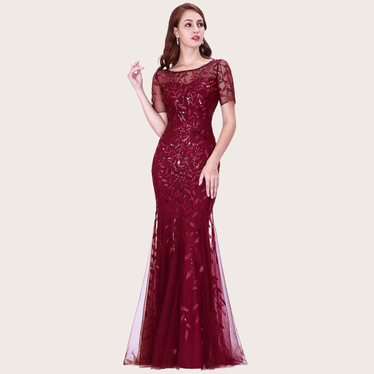 Сетчатое платье-русалка с блестками