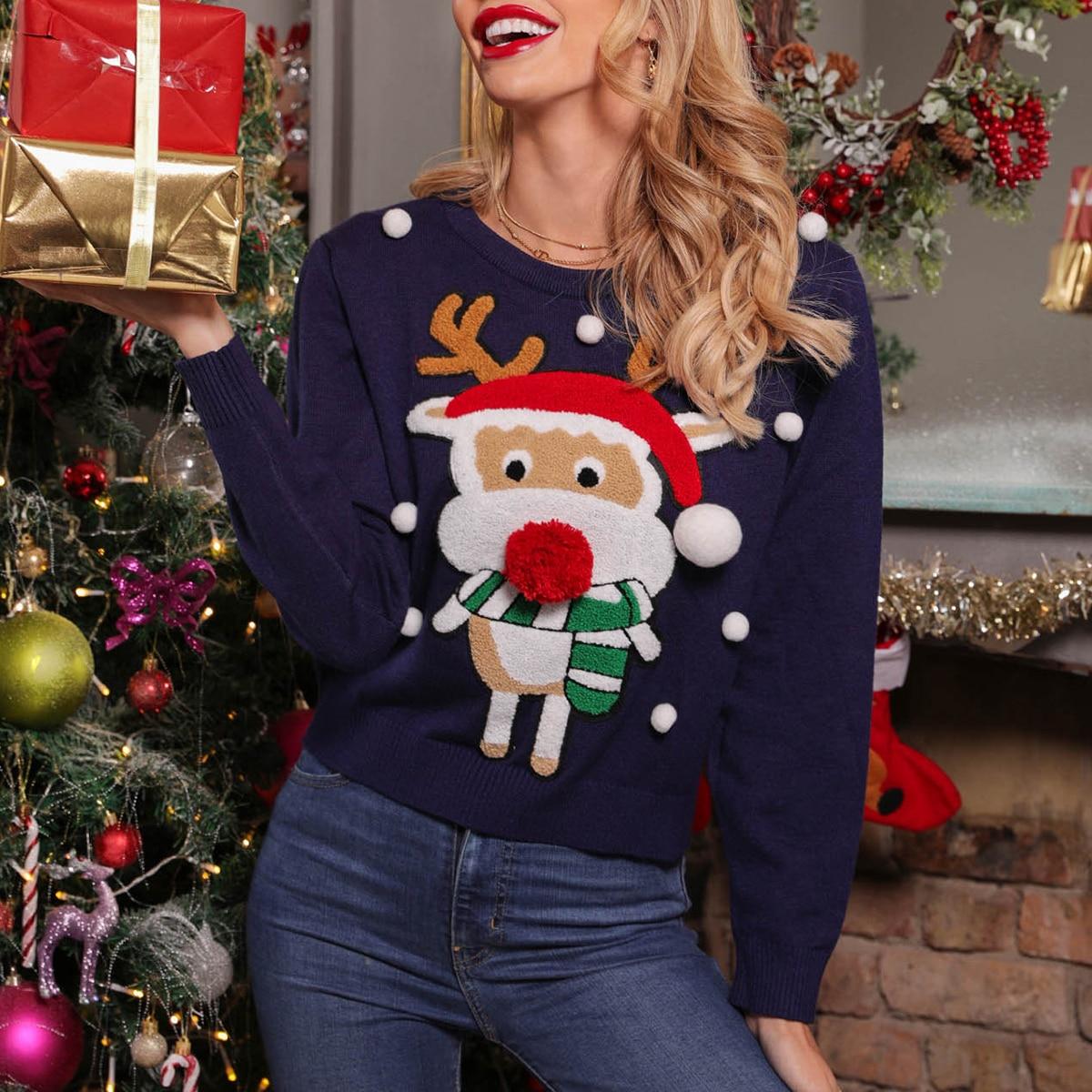 Рождественский свитер с мультипликационным рисунком и помпоном