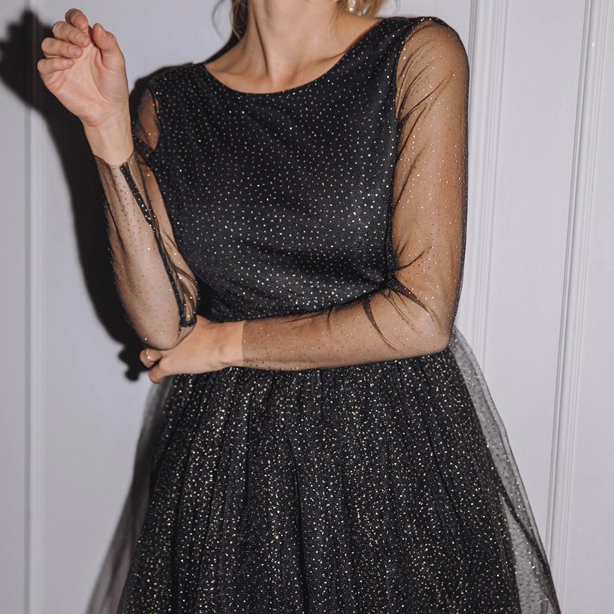 Сетчатое платье с открытой спиной