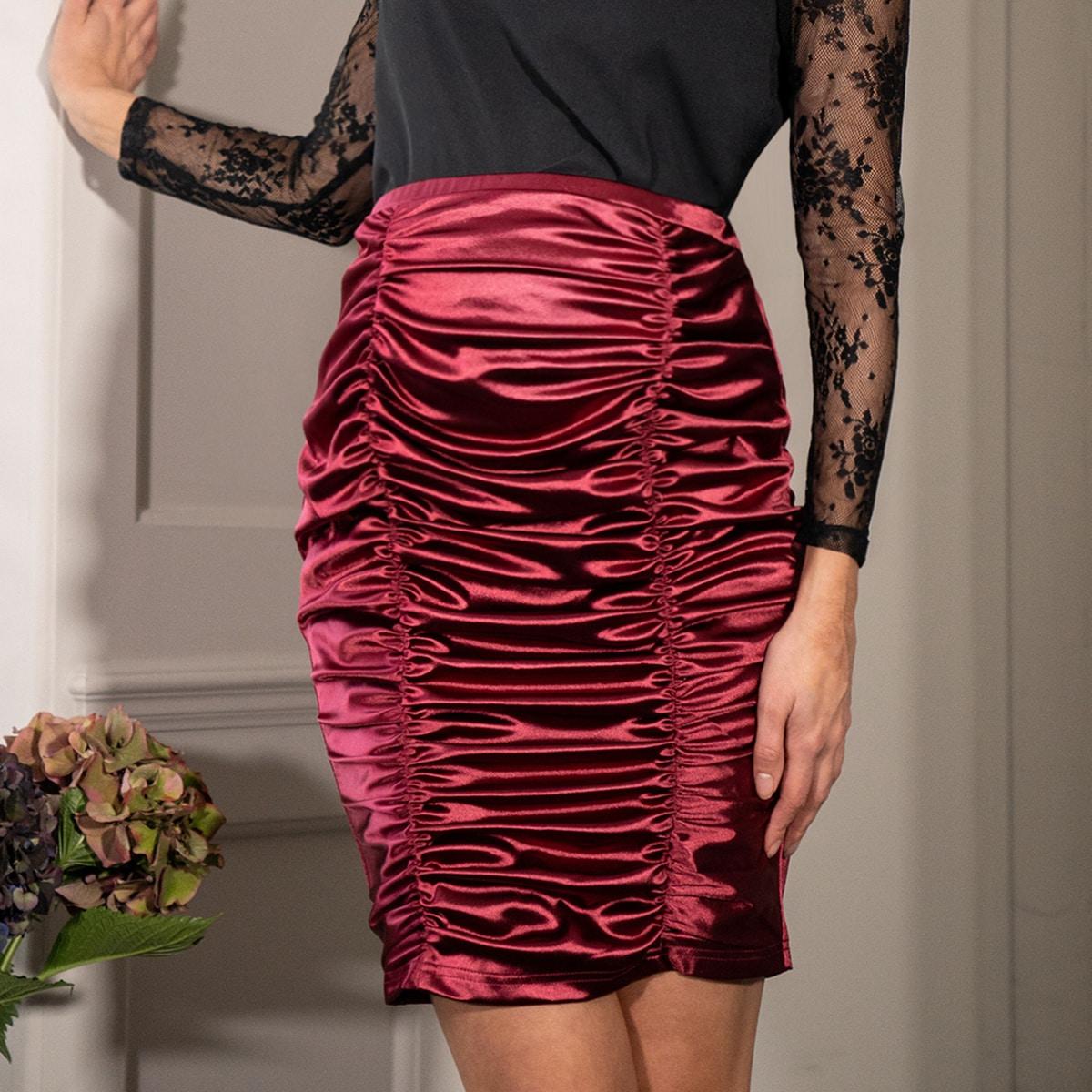 Атласная юбка со сборкой для беременных