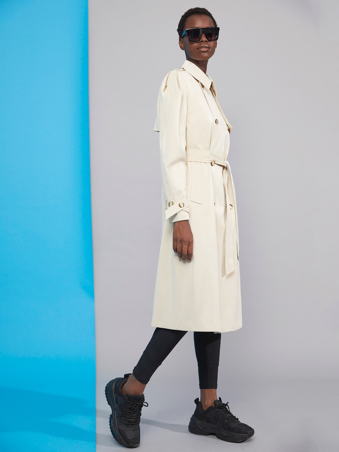 Double Breasted Belted Trench Coat thumbnail