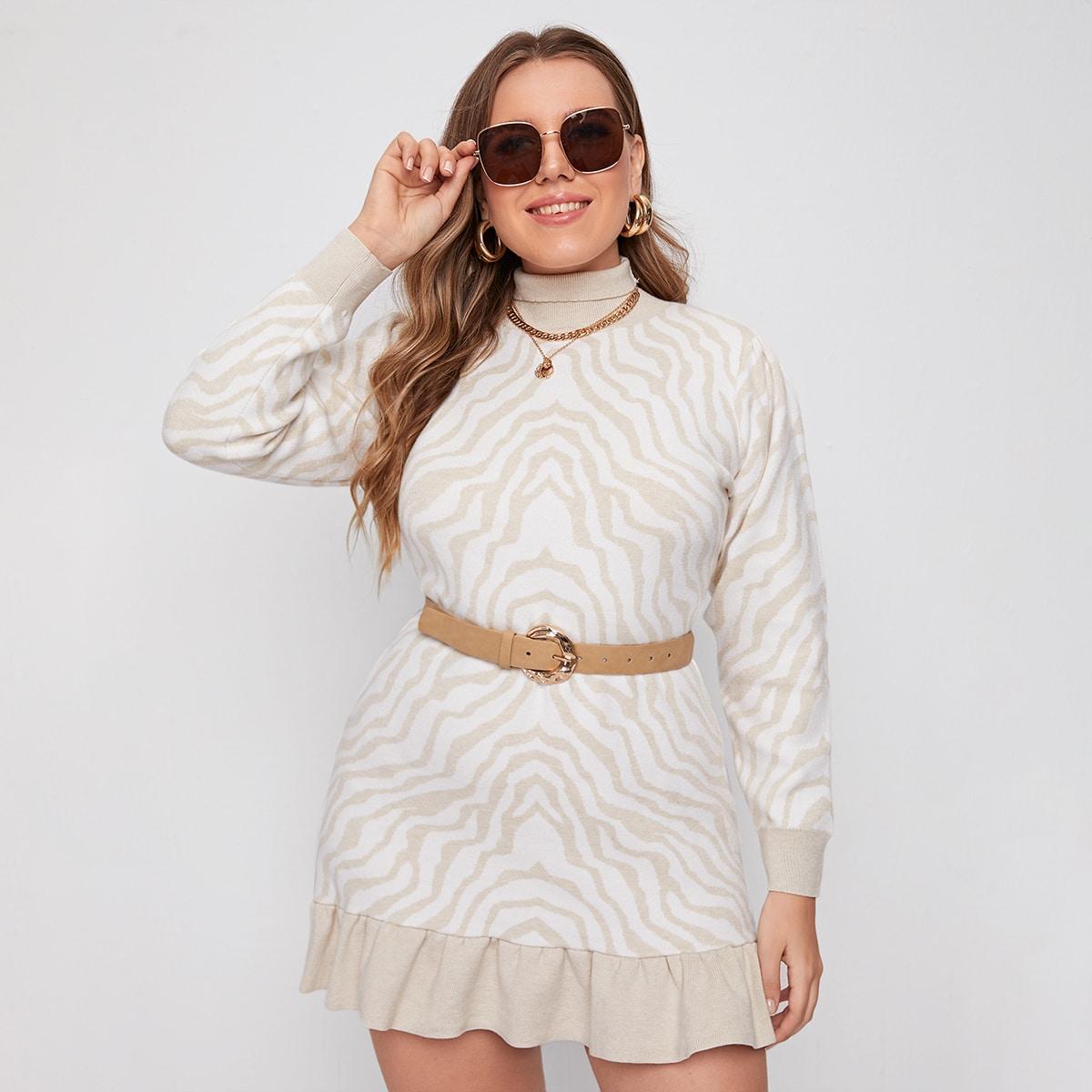 Платье-свитер размера плюс в полоску без пояса