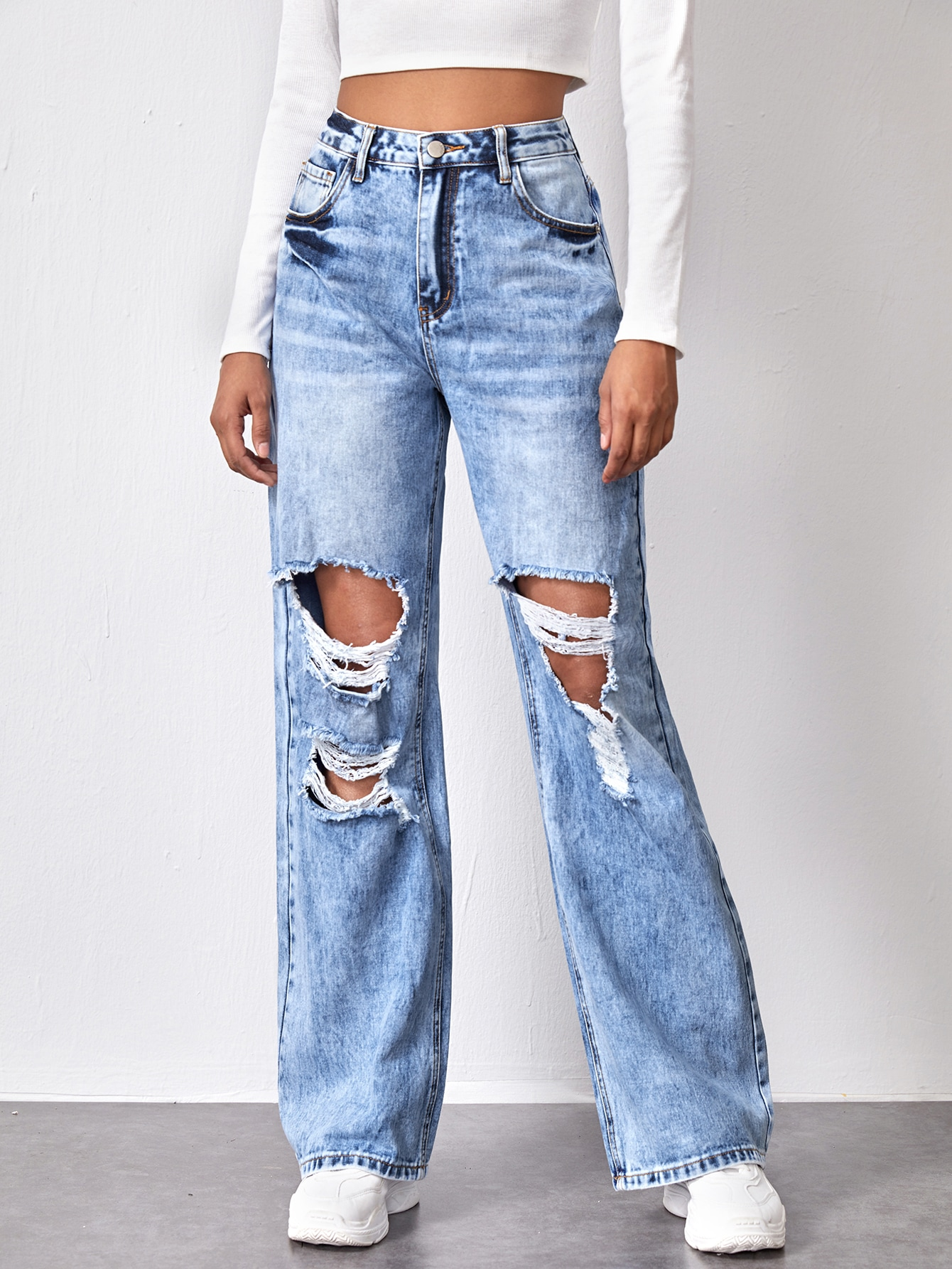 High Waist Slant Pocket Ripped Wide Jeans thumbnail