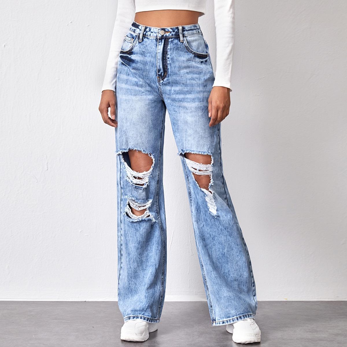Рваные широкие джинсы с карманом и высокой талией