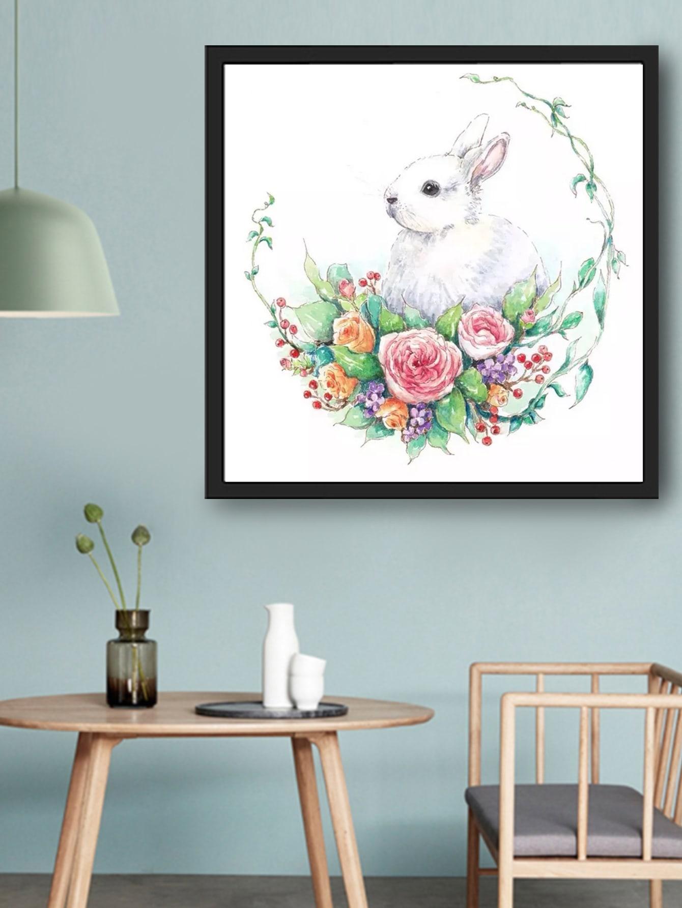 Rabbit Print Diy Diamond Painting Without Frame Shein Usa