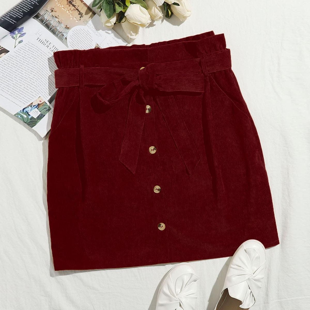 С поясом одноцветный повседневный юбки размер плюс