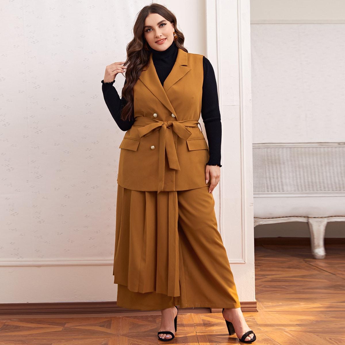 Юбка, брюки и двубортный пиджак с поясом размера плюс