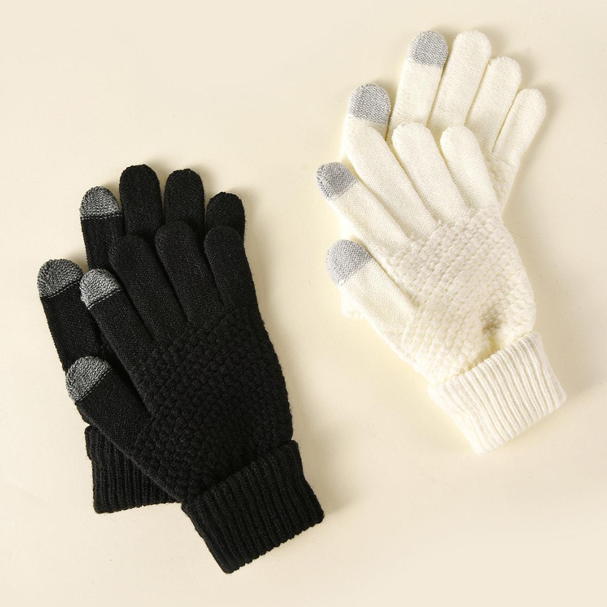 2 пары вязаные перчатки