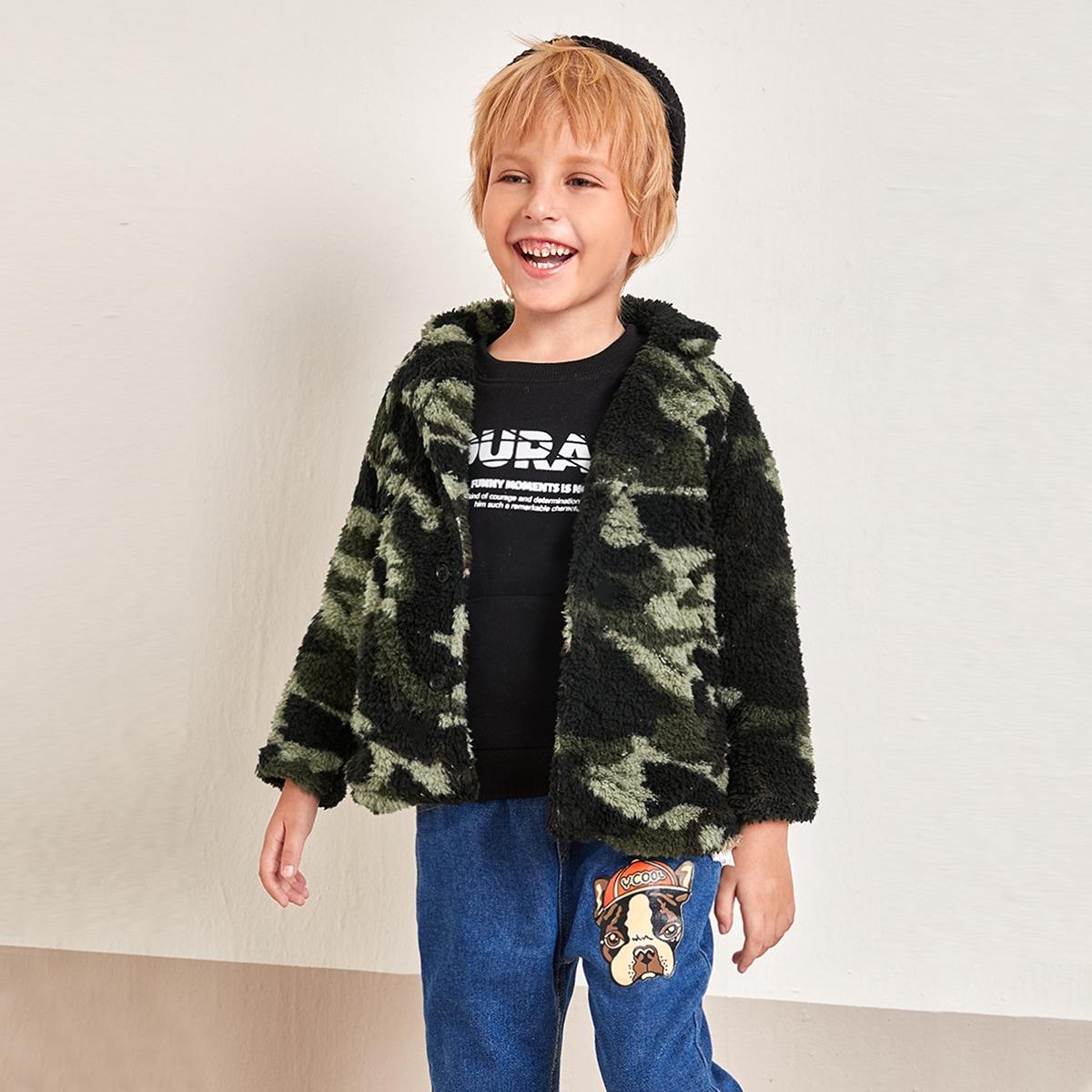 С карманами камуфляж повседневный пальто для маленьких мальчиков