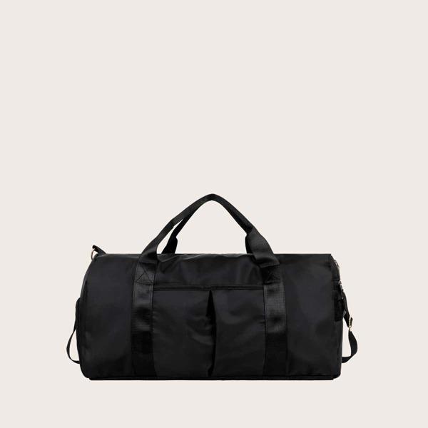 Men Large Capacity Barrel Bag, Black