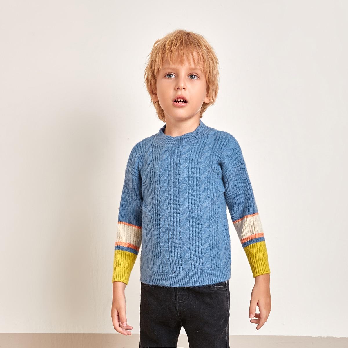 Трикотажный полосатый повседневный свитеры для мальчиков