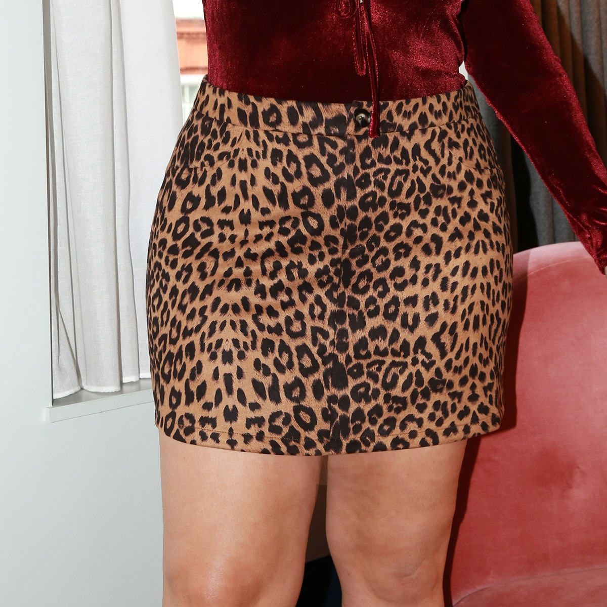 На пуговицах леопард повседневный юбки размер плюс