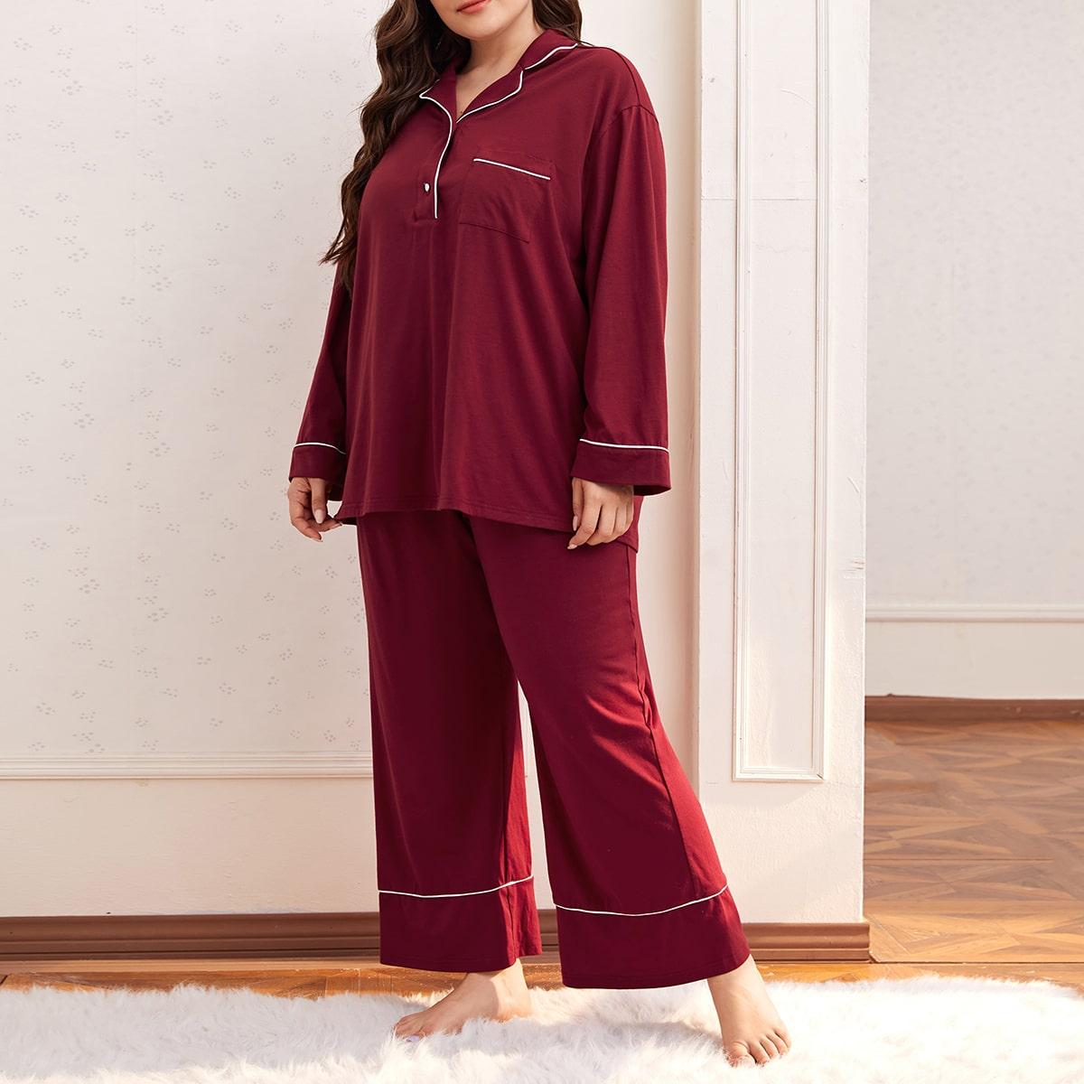 С карманами повседневный пижама размер плюс