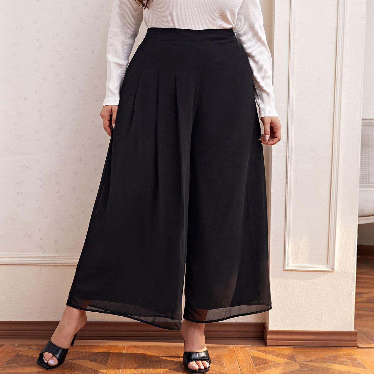 Застежка одноцветный элегантный брюки размер плюс