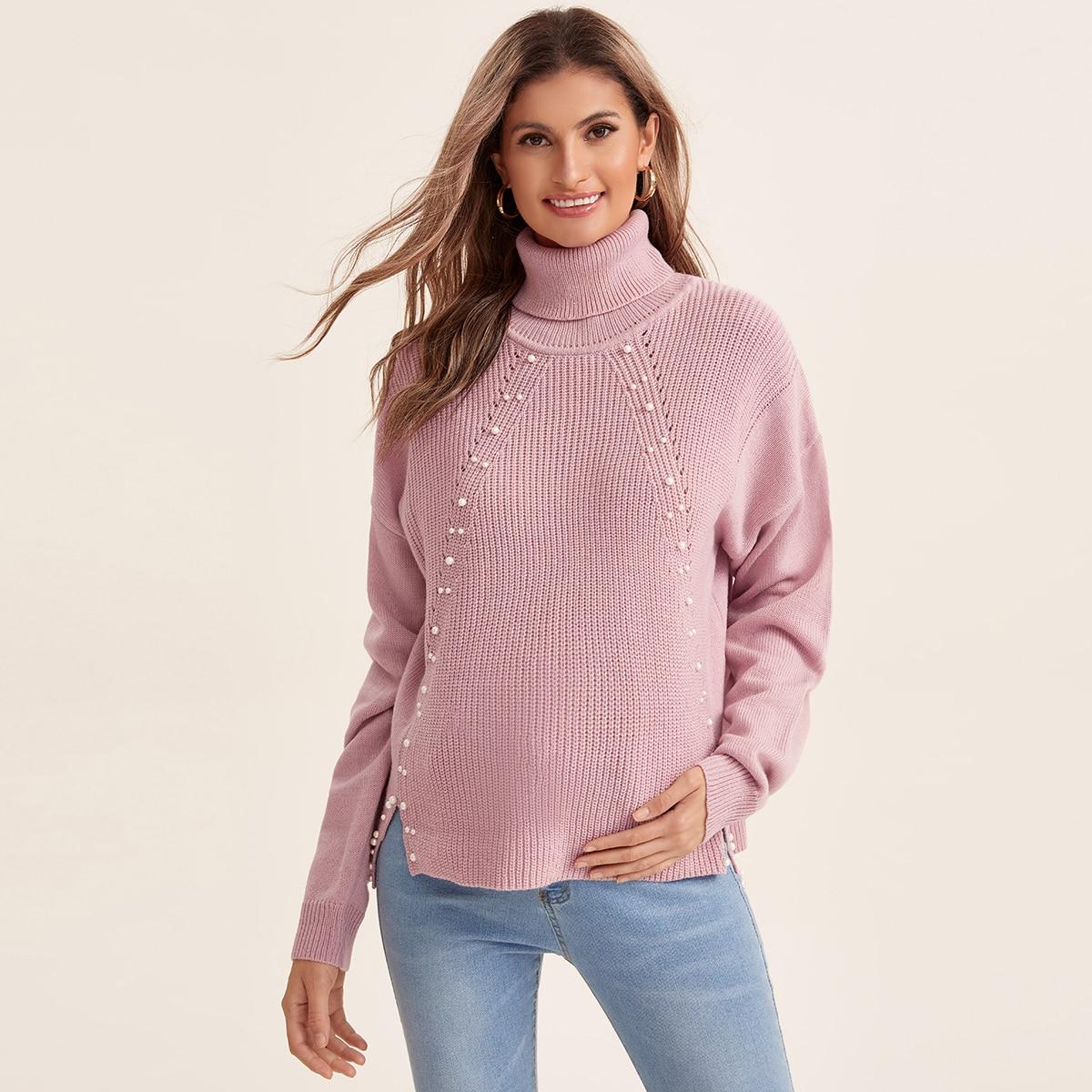 Нитка жемчуга одноцветный повседневный свитеры для беременных