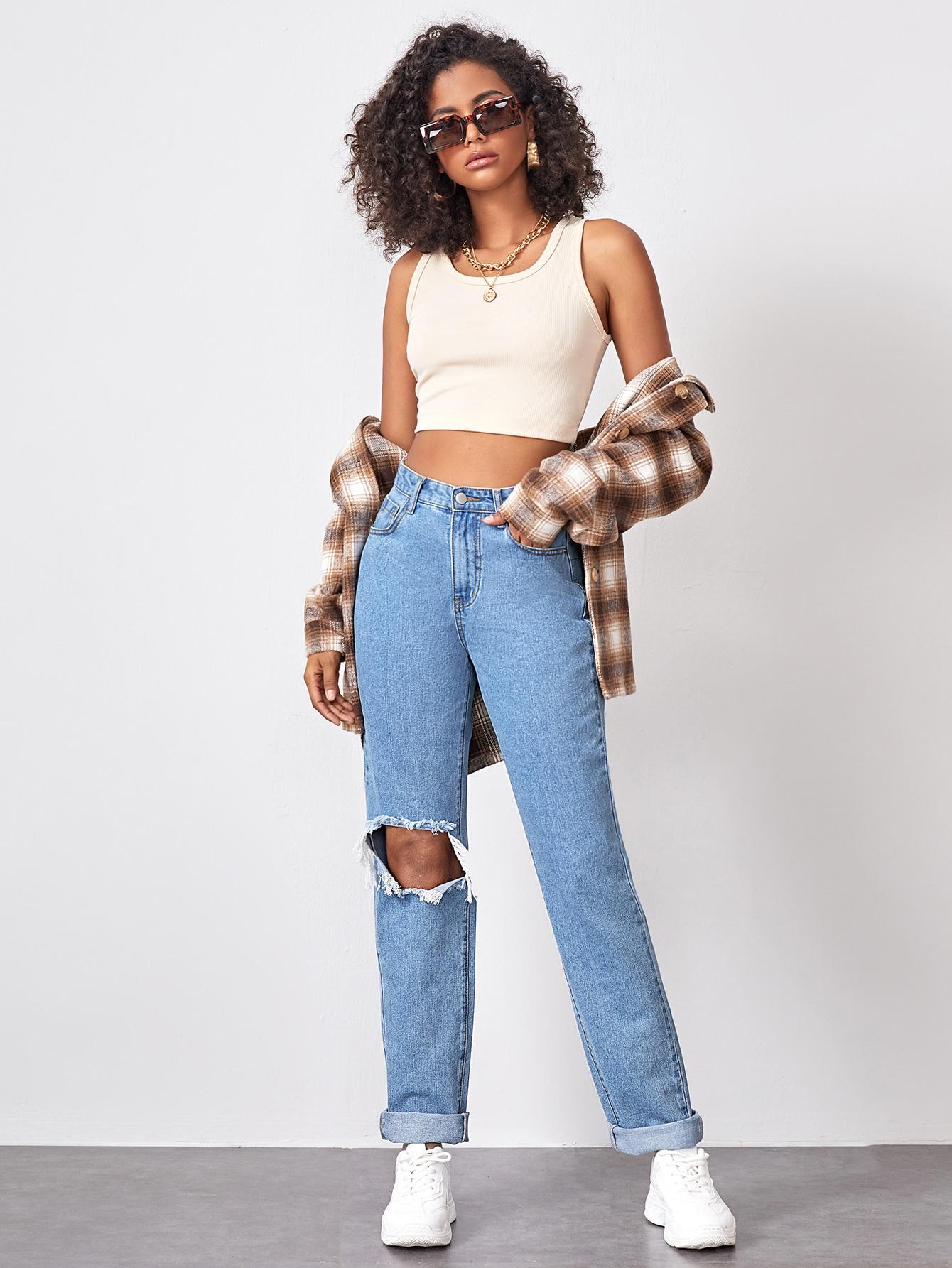 High Waist Slant Pocket Ripped Straight Jeans thumbnail